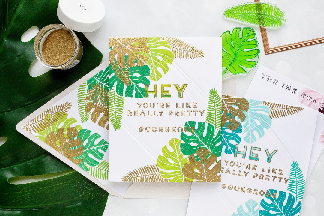 Ink Road Stamps | One Layer Tropical Cards featuring simple stamping, dry & heat embossing. Video tutorial by Yana Smakula #cardmaking #stamping #onelayercard #handmade
