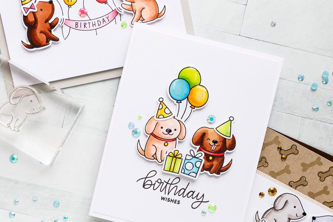 Pretty Pink Posh | Clean & Simple Cards with Puppies! Video tutorial by Yana Smakula. Playful Puppies Stamp Set #prettypinkposh #stamping #cardmaking - Happy Birthday Card