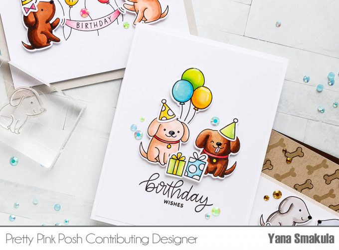 Pretty Pink Posh | Clean & Simple Cards with Puppies! Video tutorial by Yana Smakula. Playful Puppies Stamp Set - Birthday Card #prettypinkposh #stamping #cardmaking