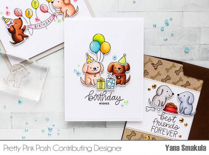 Pretty Pink Posh | Clean & Simple Cards with Puppies! Video tutorial by Yana Smakula. Playful Puppies Stamp Set #prettypinkposh #stamping #cardmaking