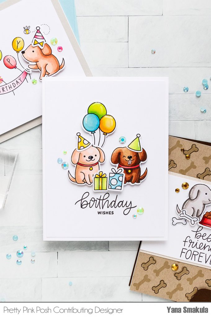 Pretty Pink Posh   Clean & Simple Cards with Puppies! Video tutorial by Yana Smakula. Playful Puppies Stamp Set - Birthday Card #prettypinkposh #stamping #cardmaking