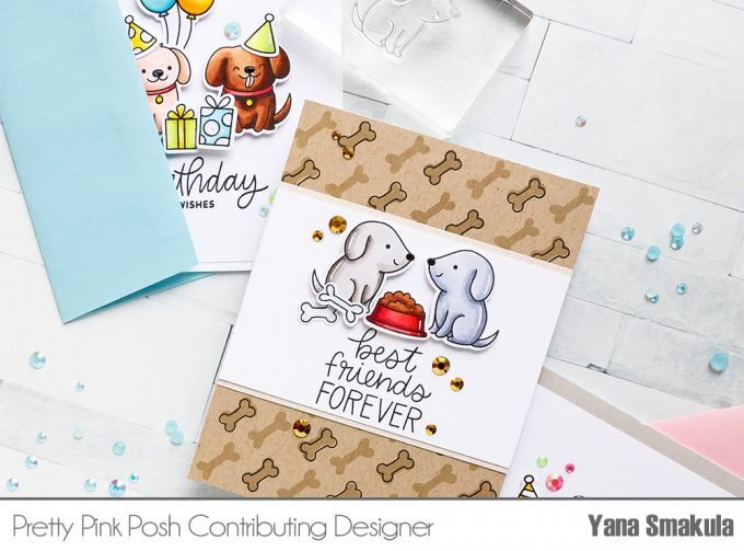 Pretty Pink Posh   Clean & Simple Cards with Puppies! Video tutorial by Yana Smakula. Playful Puppies Stamp Set #prettypinkposh #stamping #cardmaking - Best Friends Forever Card