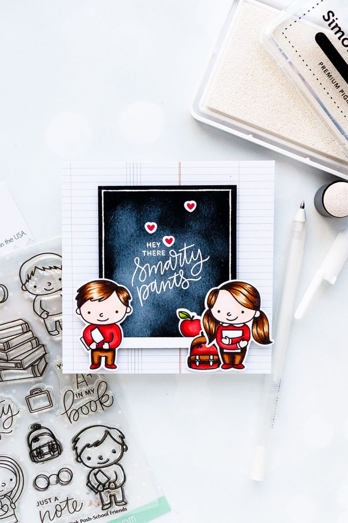 Pretty Pink Posh | Hey There Smarty Pants Card featuring School Friends stamp set. Photo tutorial by Yana Smakula #stamping #prettypinkposh #cardmaking #backtoschool