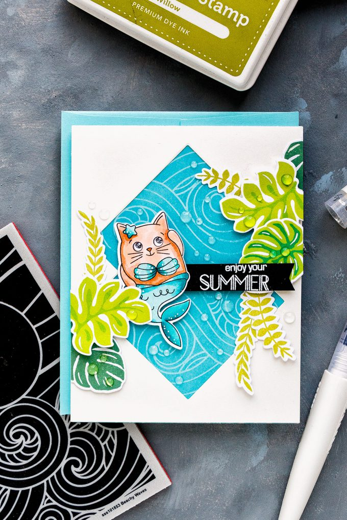 Simon Says Stamp | Summer & Mermaids Card by Yana Smakula using Summer Cuddly Critters and Beachy Waves stamps #simonsaysstamp #sssgoodvibes #stamping #cardmaking #handmadecard
