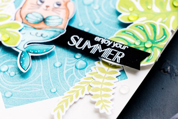Simon Says Stamp   Summer & Mermaids Card by Yana Smakula using Summer Cuddly Critters and Beachy Waves stamps #simonsaysstamp #sssgoodvibes #stamping #cardmaking #handmadecard