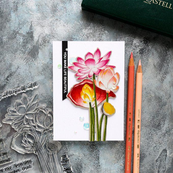 Simon Says Stamp | Sketch Lotus Flowers & Polychromos Coloring - video tutorial by Yana Smakula #simonsaysstamp #sssfriendlyfrolic #stamping #polychromos