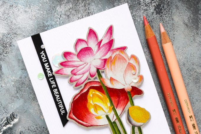 Simon Says Stamp | Sketch Lotus Flowers & Polychromos Coloring - video tutorial by Yana Smakula #simonsaysstamp #sssfriendlyfrolic #stamping #polychromos