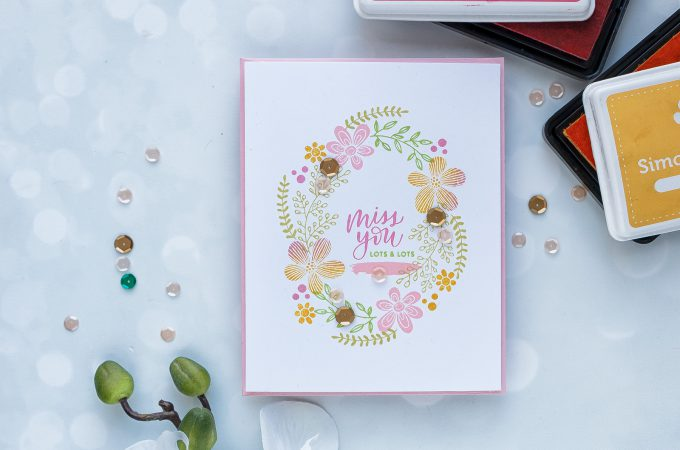 Simon Says Stamp | Easy Mirror Wreath Stamping - Miss You Card. Photo Tutorial by Yana Smakula #stamping #simonsaysstamp #cardmaking