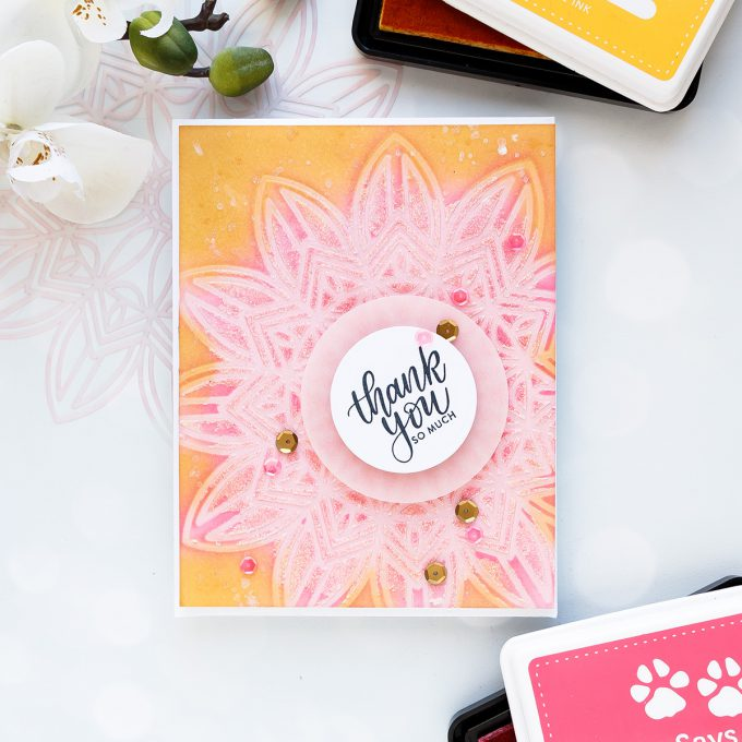Simon Says Stamp | Stenciling, Ink Blending and More! Thank You So Much Card. Photo Tutorial by Yana Smakula #inkblending #simonsaysstamp #stenciling #cardmaking