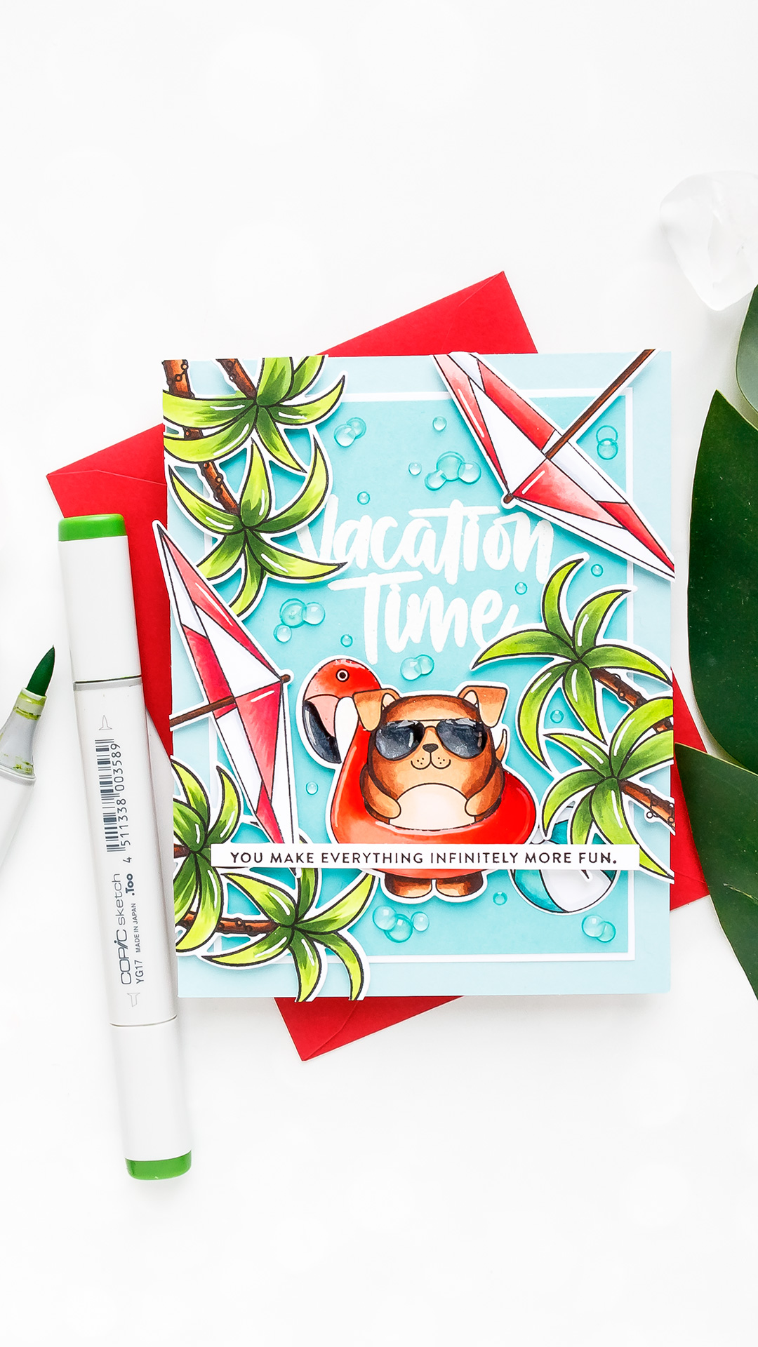 Simon Says Stamp   Vacation Time Card! Yippee For Yana Series. Video tutorial. Summer card using Summer Cuddly Critters stamp set