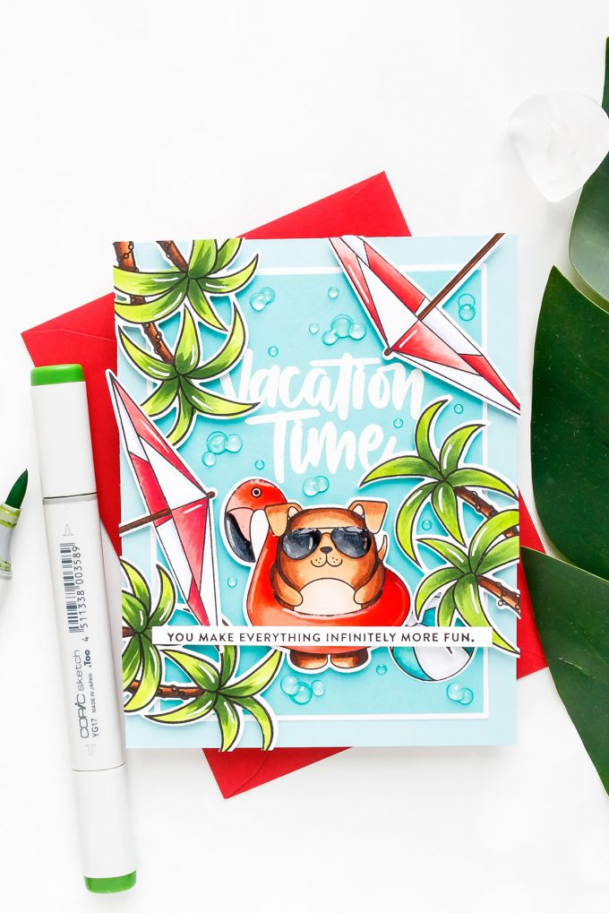 Simon Says Stamp | Vacation Time Card! Yippee For Yana Series. Video tutorial. Summer card using Summer Cuddly Critters stamp set