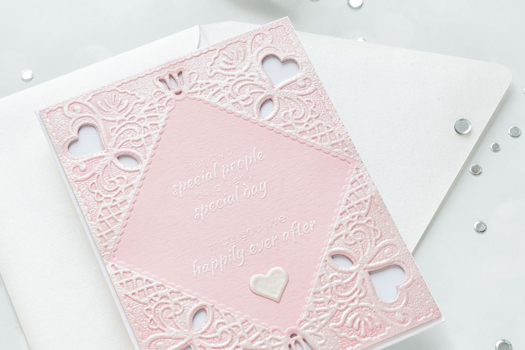 Spellbinders | Embossed Wedding Cards & Invitations. Cut & Emboss Folders. Projects by Yana Smakula #cardmaking #diecutting #spellbinders #neverstopmaking #weddingcard Diamond Lace Frame Cut and Emboss Folder, Dotted Lace Cut and Emboss Folder, Regal Swirl Cut and Emboss Folder