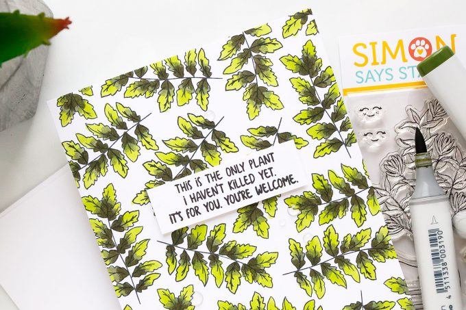 Simon Says Stamp | Stamped Leafy Pattern Card using Plantiful Puns stamp set & Copic coloring. #simonsaysstamp #stamping #patternstamping #cardmaking