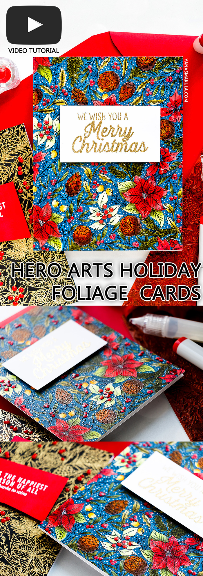 Hero Arts | One Background Three Ways - Holiday Foliage Cards by Yana Smakula #stamping #heroarts #christmascard #cardmakingforbeginners #cardmaking #yscardmaking #stampingtechniques #christmascardhandmade
