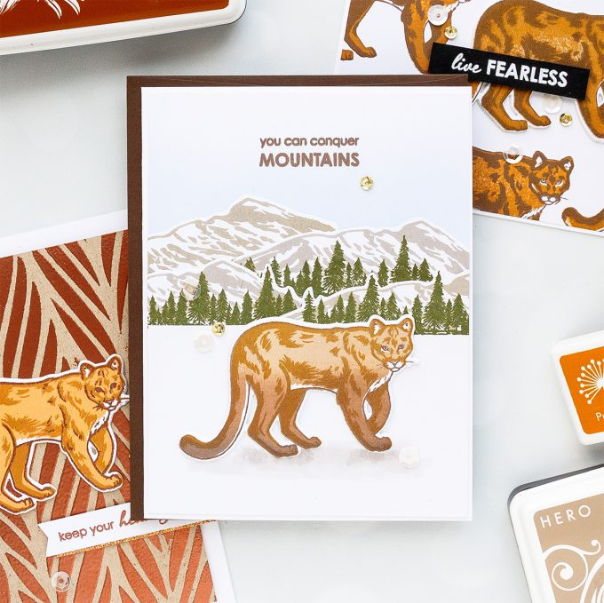 Hero Arts   Color Layering With Yana Series – Color Layering Mountain Lion Cards. Video tutorial by Yana Smakula #colorlayering #cardmaking #stamping #papercrafting #cleanandsimplecard #heroarts