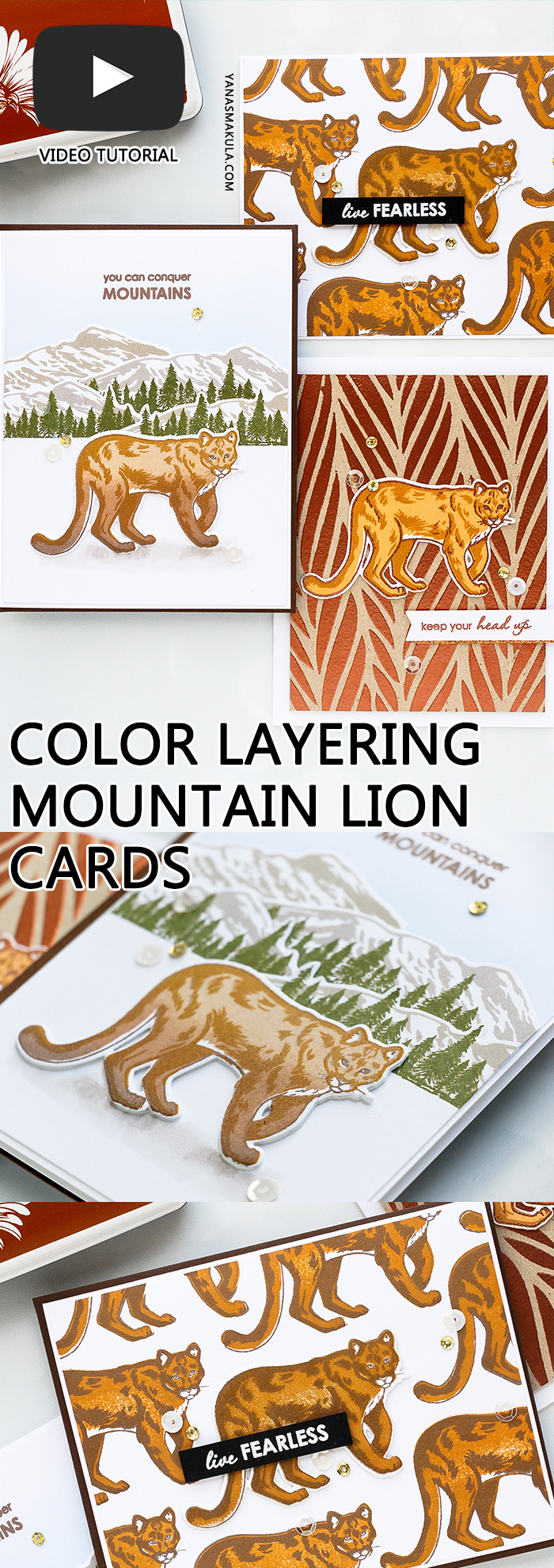 Hero Arts | Color Layering With Yana Series – Color Layering Mountain Lion Cards. Video tutorial by Yana Smakula #colorlayering #cardmaking #stamping #papercrafting #cleanandsimplecard #heroarts