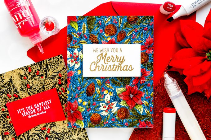 Hero Arts | One Background Three Ways - Holiday Foliage Cards by Yana Smakula #stamping #heroarts #christmascard #happymail #cardmaking #stamping