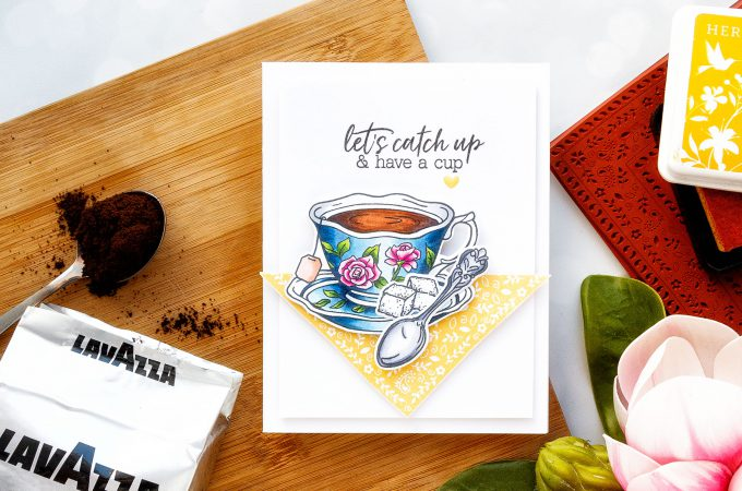Hero Arts | Coffee or Tea? August 2018 My Monthly Hero Kit. Let's Catch Up & Have A Cup card by Yana Smakula #stamping #mymontlyhero #mmh #heroarts #cardmaking #handmadecard
