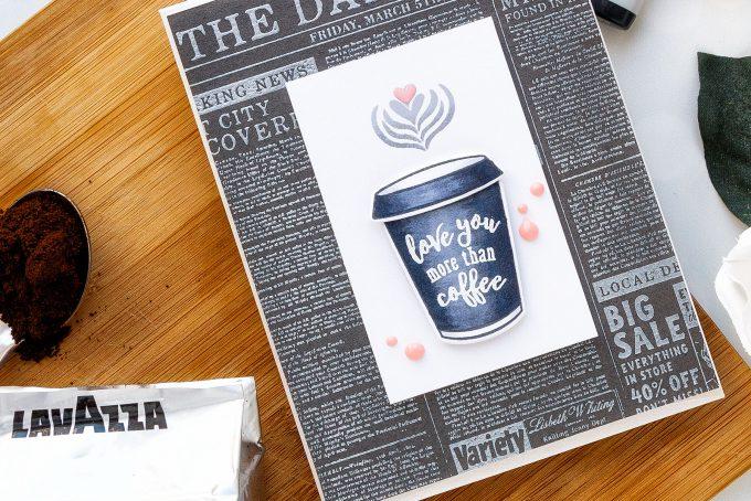 Hero Arts | Coffee or Tea? August 2018 My Monthly Hero Kit. Love you more than coffee card by Yana Smakula #stamping #mymontlyhero #mmh #heroarts #cardmaking #handmadecard