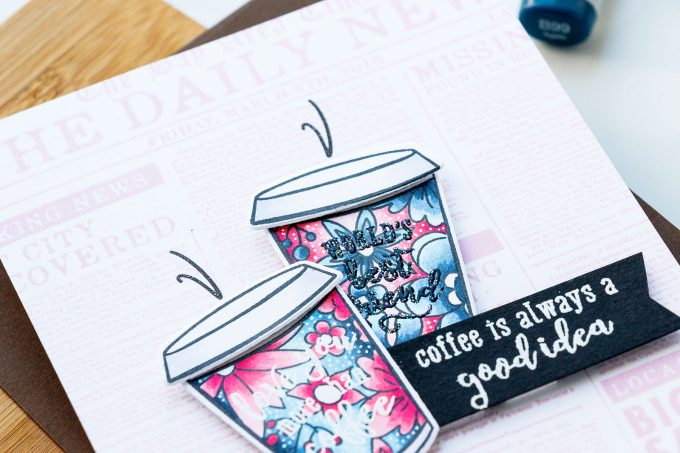 Hero Arts | Coffee or Tea? August 2018 My Monthly Hero Kit. Coffee is always a good idea card by Yana Smakula #stamping #mymontlyhero #mmh #heroarts #cardmaking #handmadecard