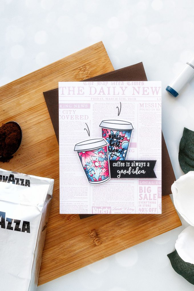 Hero Arts | Coffee or Tea? August 2018 My Monthly Hero Kit. Coffee is always a good idea card by Yana Smakula #stamping #mymontlyhero #mmh #heroarts #cardmaking #handmadecard