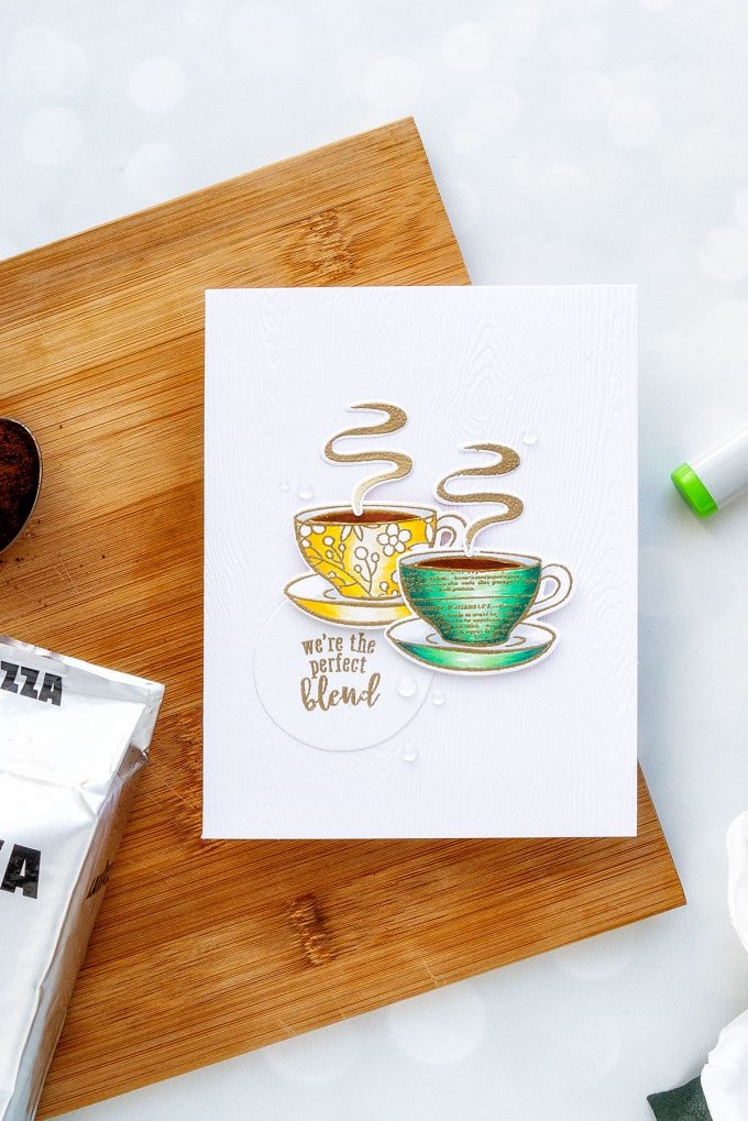 Hero Arts | Coffee or Tea? August 2018 My Monthly Hero Kit. We're the perfect blend card by Yana Smakula #stamping #mymontlyhero #mmh #heroarts #cardmaking #handmadecard