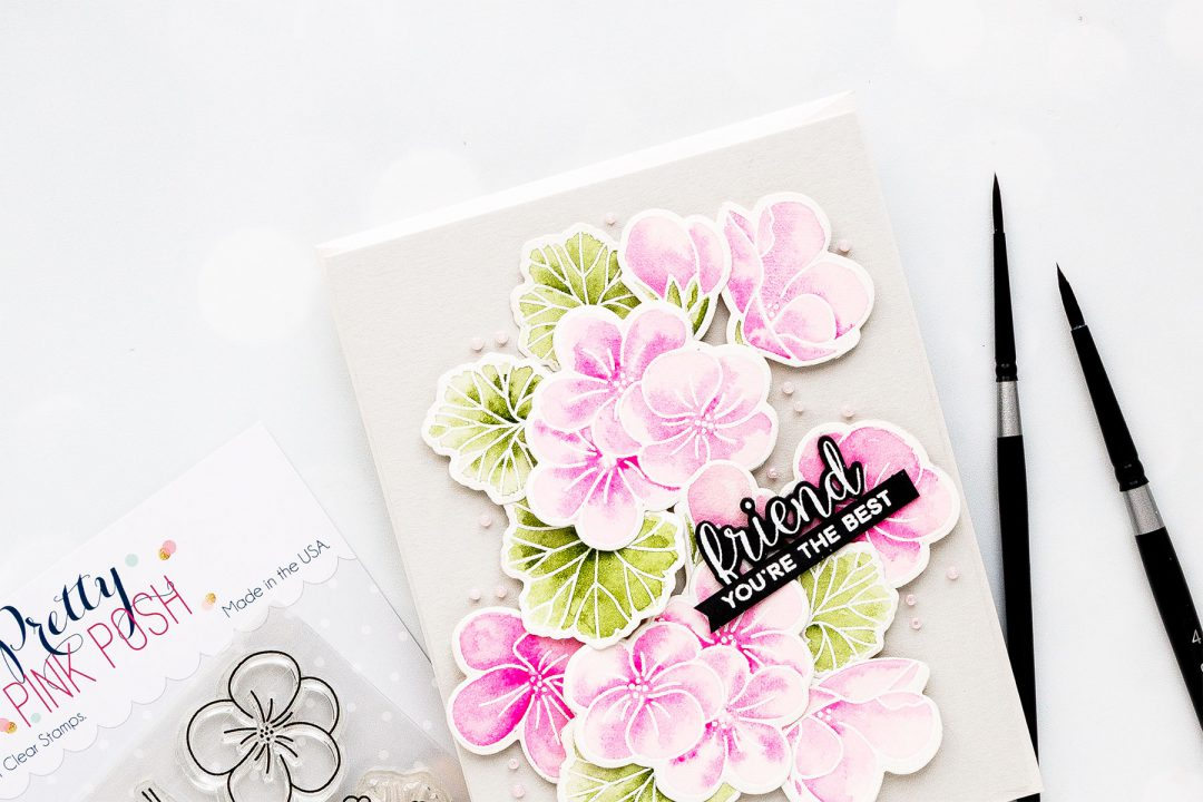 Pretty Pink Posh | Watercolor Geraniums Card. Photo Tutorial by Yana Smakula #prettypinkposh #cardmaking #handmadecard #watercolorcard #stampingforbeginners #cardmakingtutorial #pppgeraniums