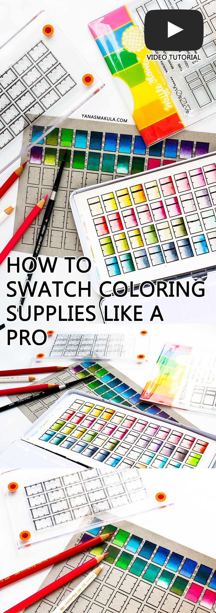 How to Swatch Coloring Mediums like a PRO using Swatching Stamps from Waffle Flower Crafts. Examples show Daniel Smith watercolor swatches and Faber Castell Polychromos Pencils swatches. #colorswatches #howtoswatchwatercolor #howtoswatchcoloredpencils