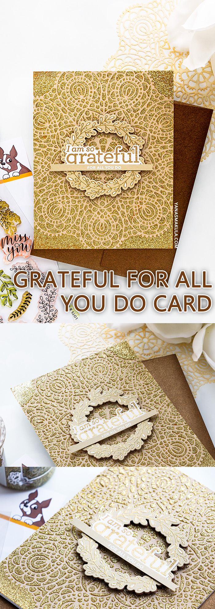 Simon Says Stamp | Grateful For You Card by Yana Smakula featuring CIRCULAR LACE SSST121395 Stencil, WREATH GREETINGS sss101834 and LOVE YOU MAMA CZ18 stamps #simonsaysstamp #yscardmaking #cardmaking #handmadecard #gratitudecard