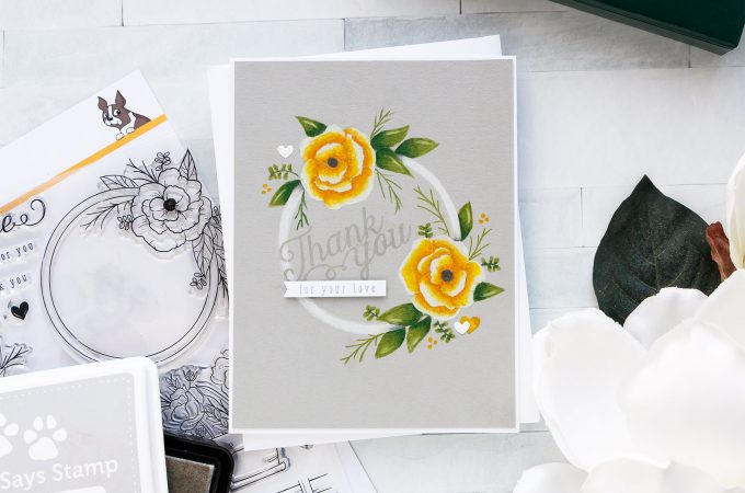 Simon Says Stamp   Pencil Coloring on Smoke Gray Cardstock - Mandy's Flowers stamp Set. Yippee For Yana Series. Video #cardmaking #yanasmakula #stamping #polychoromos #sssck
