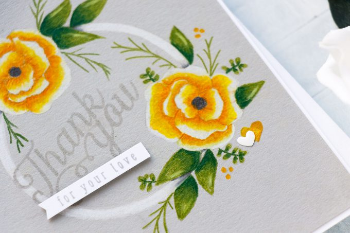 Simon Says Stamp | Pencil Coloring on Smoke Gray Cardstock - Mandy's Flowers stamp Set. Yippee For Yana Series. Video #cardmaking #yanasmakula #stamping #polychoromos #sssck