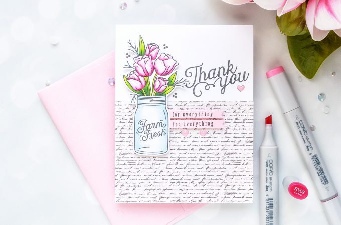 Simon Says Stamp | August Card Kit - Mandy's Flowers Take One- Thank You Card by Yana Smakula #sss #sssck #simonsaysstamp #stamping #cardmaking #handmadecard