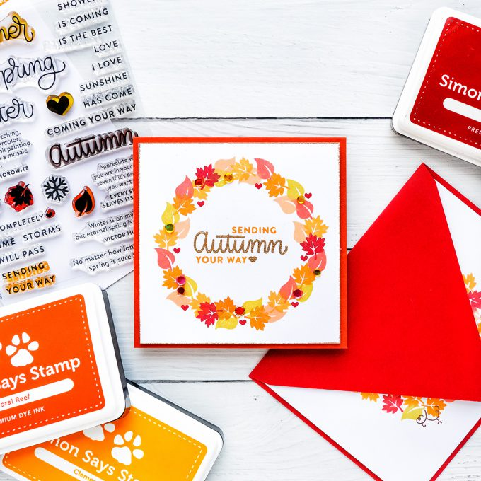 Simon Says Stamp   Easy DIY Autumn Wreath Card using Four Seasons Sayings stamp set. Handmade card by Yana Smakula #yscardmaking #simonsaysstamp #simonsaysstampcards #fallcard #handmadecard #cardmaking #stamping #autumncard #diycard #easystamping #handmadefallcard