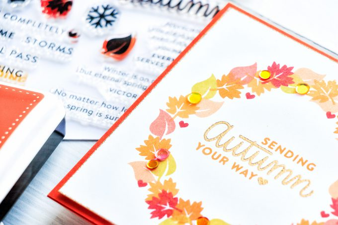 Simon Says Stamp | Easy DIY Autumn Wreath Card using Four Seasons Sayings stamp set. Handmade card by Yana Smakula #yscardmaking #simonsaysstamp #simonsaysstampcards #fallcard #handmadecard #cardmaking #stamping #autumncard #diycard #easystamping #handmadefallcard