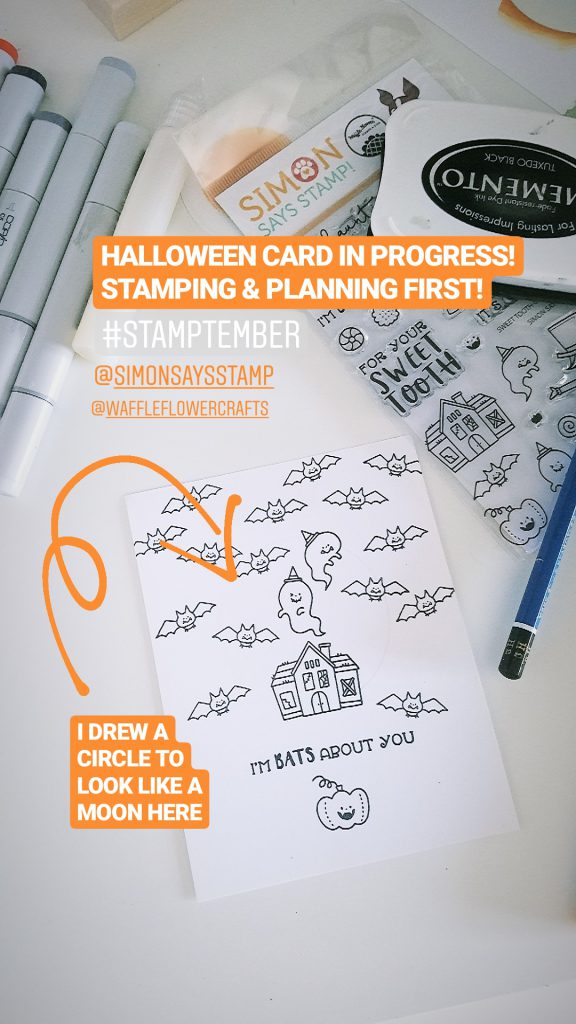 STAMPtember | Waffle Flower - One Layer Bats Over Your Halloween Card featuring Waffle Flower Sweet Tooth SSS101927 Stamptember Exclusive #stamptember #yscardmaking #halloweencard
