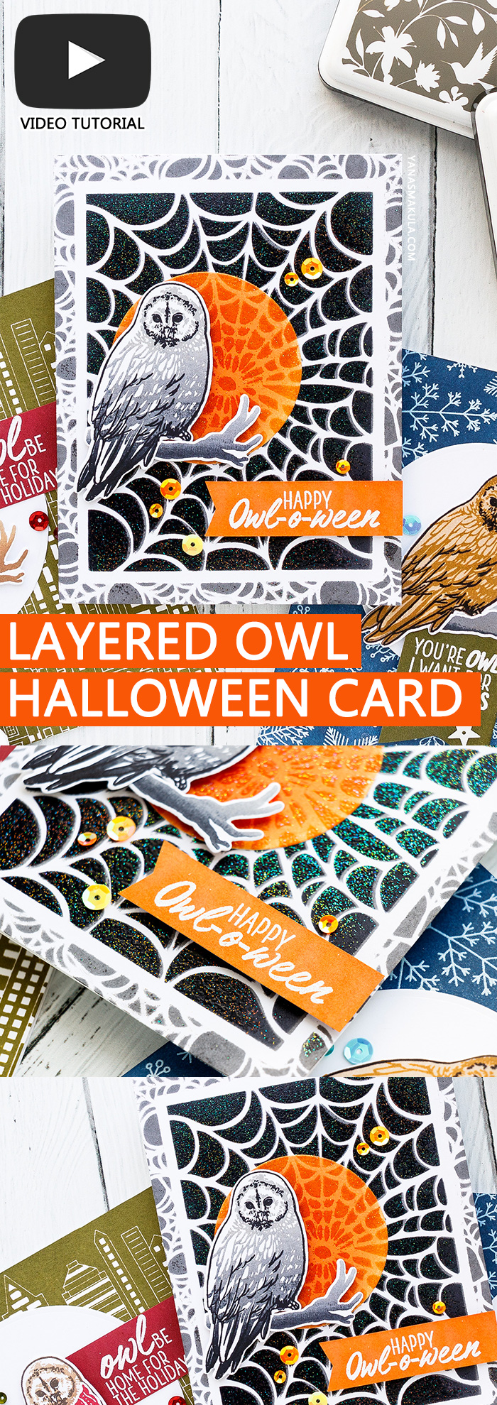 Hero Arts | Color Layering With Yana Series – Color Layering Owl Halloween & Christmas Cards. Video tutorial #yscardmaking #colorlayering #stamping #heroarts #halloweencard #owlcard