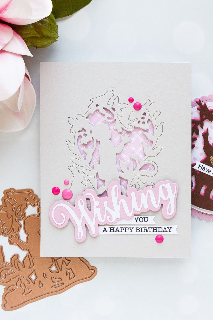 Spellbinders | Easy Silhouette Card Ideas - Wishing You A Happy Birthday Card by Yana Smakula #yscardmaking #spellbinders #handmadecard #diecutting #neverstopmaking #diycard