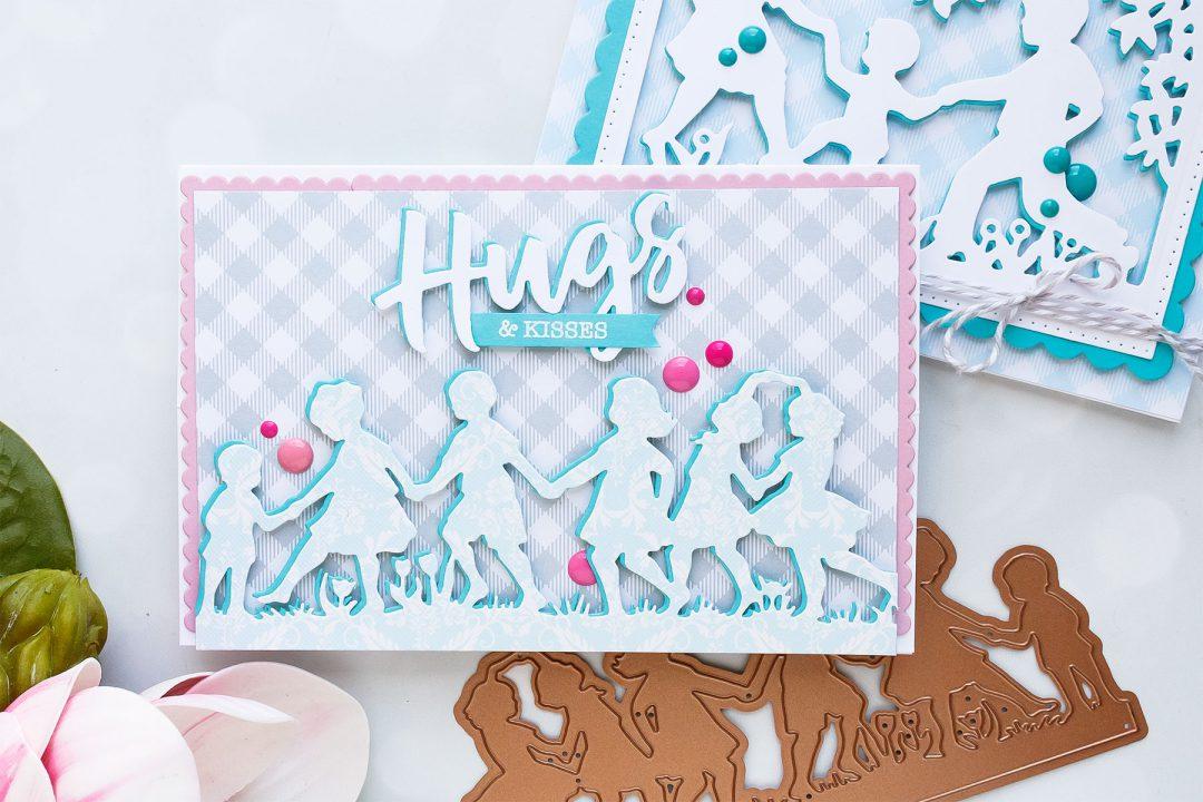 Spellbinders | Easy Silhouette Card Ideas - Hugs & Kisses Card by Yana Smakula #yscardmaking #spellbinders #handmadecard #diecutting #neverstopmaking #diycard