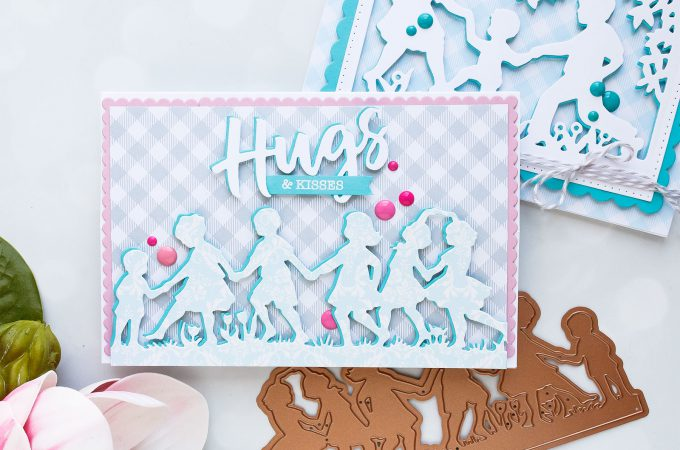 Spellbinders | Easy Silhouette Card Ideas - Hugs & Kisses Card by Yana Smakula #yscardmaking #spellbinders #handmadecard #diecutting #neverstopmaking #diycard