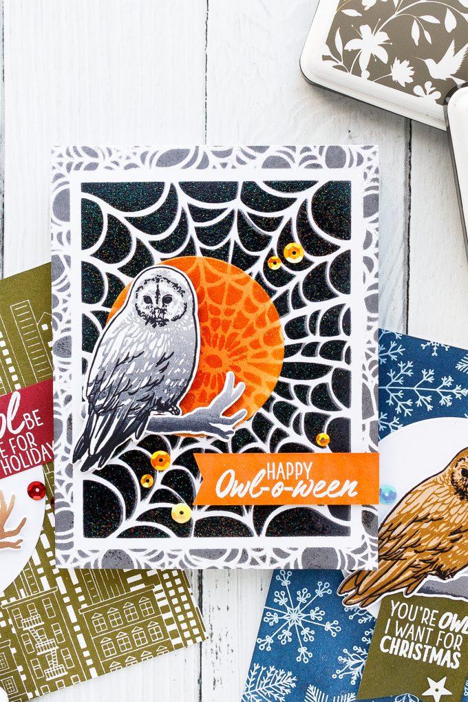Hero Arts   Color Layering With Yana Series – Color Layering Owl Halloween & Christmas Cards. Video tutorial #yscardmaking #colorlayering #stamping #heroarts #halloweencard #owlcard