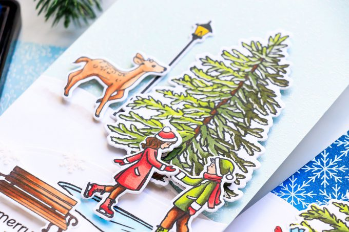Hero Arts | Tall & Skinny Christmas Cards by Yana Smakula. October 2018 My Monthly Hero Kit. Video tutorial #yscardmaking #mmh #mymonthlyhero #cardmaking #christmascard