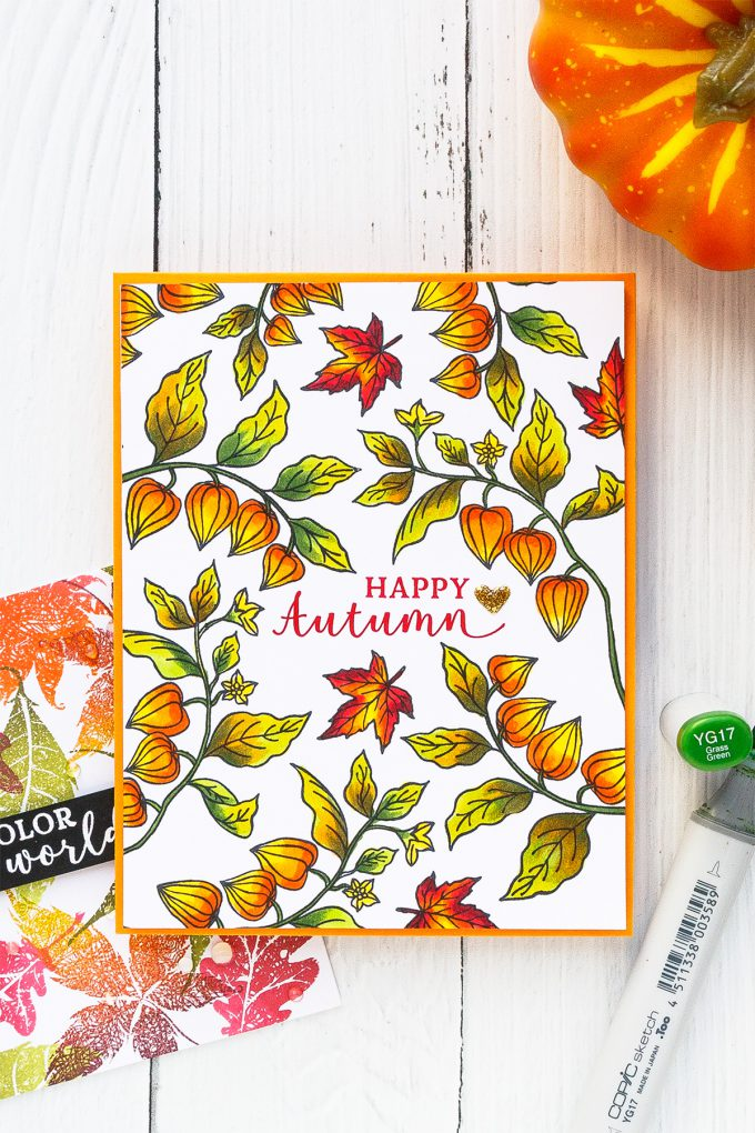 Hero Arts | Fall Foliage Cards. September 2018 My Monthly Hero Kit. Video tutorial. Pattern stamping 3 ways. #yscardmaking #heroarts #mymonthlyhero #cardmaking #fallcard #fallcardmaking #autumncard #heroartskit #cardkit #handmadecard