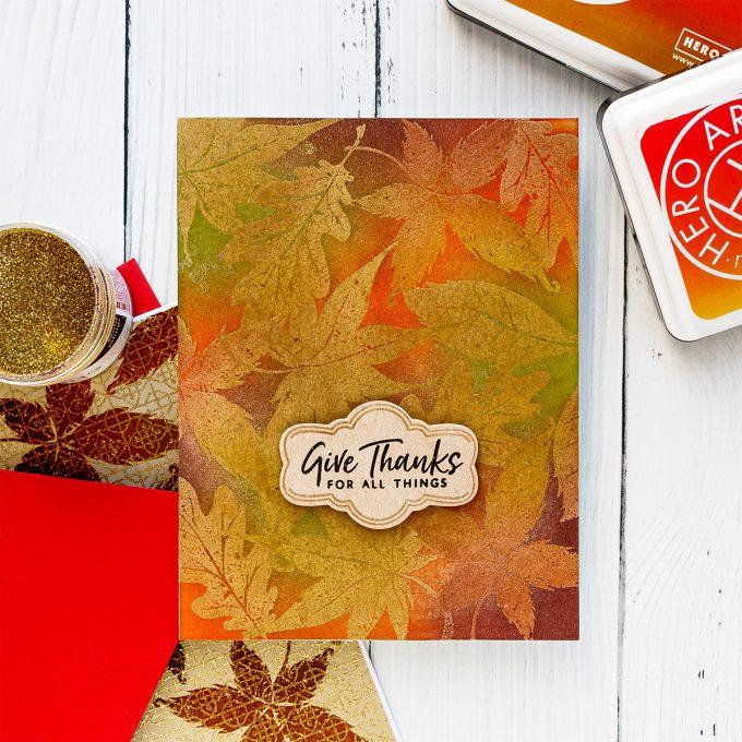 Hero Arts | Fall Foliage Cards. September 2018 My Monthly Hero Kit. Video tutorial. Pattern stamping 3 ways. #yscardmaking #heroarts #mymonthlyhero #cardmaking #fallcard #fallcardmaking #autumncard #heroartskit #cardkit #handmadecard
