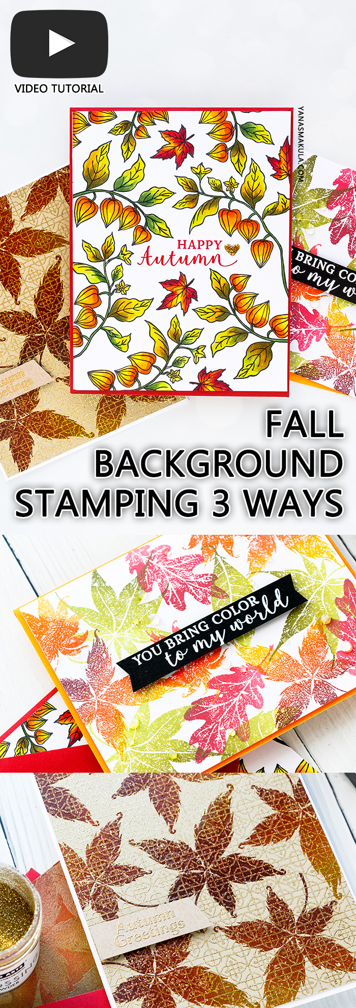 Autumn & Fall Background Stamping Ideas & Techniques with Yana Smakula. Hero Arts | Fall Foliage Cards. September 2018 My Monthly Hero Kit. Video tutorial. #yscardmaking #heroarts #mymonthlyhero #cardmaking #fallcard #fallcardmaking #autumncard #heroartskit #cardkit #handmadecard