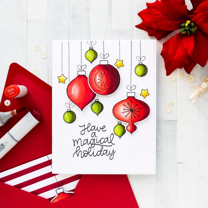 Minimal Supplies Christmas Ornament Cards with Mama Elephant using Joy Ornament stamps featuring Copic Coloring. Video tutorial #yscardmaking #mamaelephant #christmascard #copiccoloring