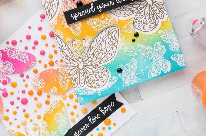 Pink & Main | Colorful Butterfly Cards 2 Ways. Photo Tutorial by Yana Smakula #pinkandmain #stamping #yscardmaking #cardmaking
