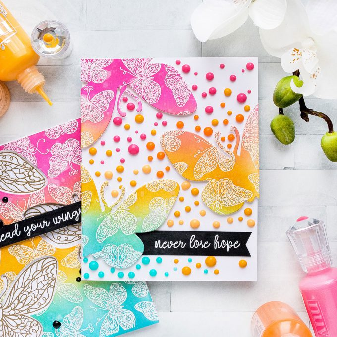 Pink & Main | Colorful Butterfly Cards 2 Ways. Photo Tutorial by Yana Smakula #pinkandmain #stamping #yscardmaking #cardmaking
