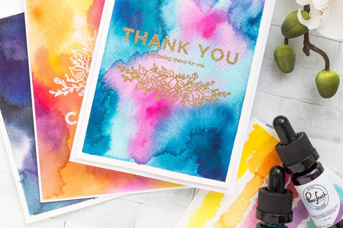 How to create Watercolor Backgrounds using Liquid Watercolors from Pinkfresh Studio. Handmade cards by Yana Smakula #yscardmaking #pinkfreshstudio #watercolorbackground #carmaking #liquidwatercolor