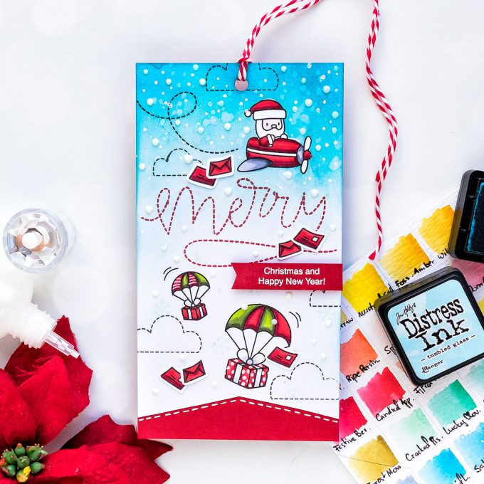 Mama Elephant STAMPtember exclusive collaboration - Merry Christmas Gift Tag by Yana Smakula #stamptember #yscardmaking #simonsaysstamp