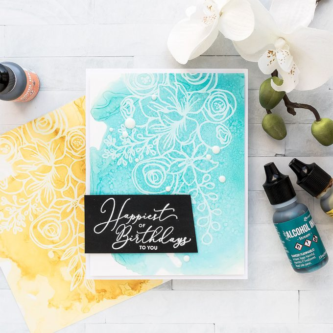 Simon Says Stamp | October 2018 Card Kit - Alcohol Ink Lift Card by Yana Smakula #yscardmaking #sssck #simonsaysstamp #alocholinklift